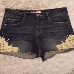 Blue Jean Shorts with Lace Design
